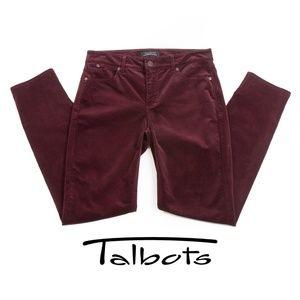 Talbots Burgundy Flawless Slim Ankle Corduroys EUC